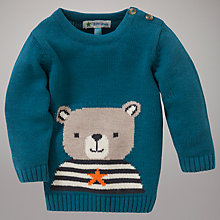 Buy John Lewis Baby Teddy Intarsia Knit Jumper, Teal Online at johnlewis.com