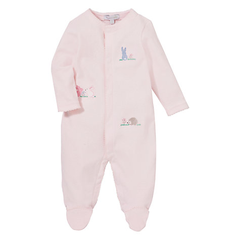 Buy John Lewis Baby Bunny Rabbits Sleepsuit, Pink Online at johnlewis.com