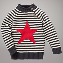 Buy John Lewis Baby Stripe Intarsia Star Knit Jumper, Navy/Cream Online at johnlewis.com
