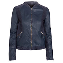 Buy Minimum Signe Leather Jacket, Navy Online at johnlewis.com