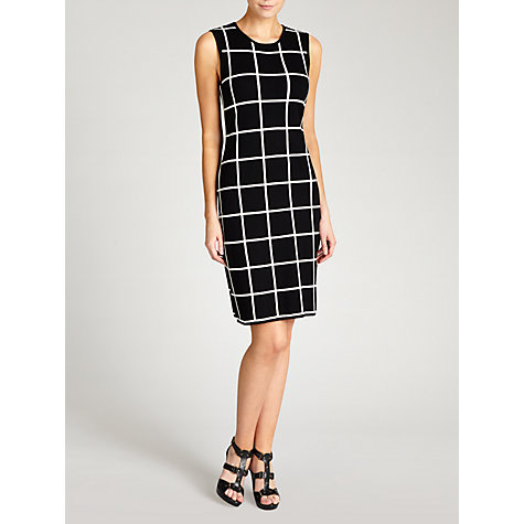 Buy Lauren by Ralph Lauren Windowpane Crewneck Dress, Black/Pearl Online at johnlewis.com