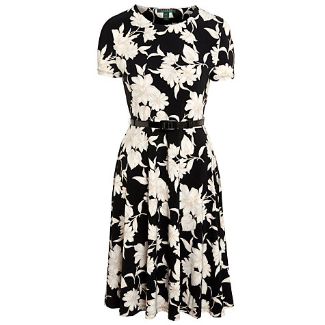 Buy Lauren by Ralph Lauren Floral-Print Jersey Dress, Black/Ivory Online at johnlewis.com