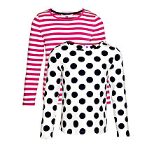 Buy John Lewis Girl Long Sleeve T-Shirts, Pack of 2, Pink/White Online at johnlewis.com