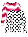 John Lewis Girl Long Sleeve T-Shirts, Pack of 2, Pink/White