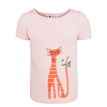 Buy John Lewis Girl Cat Motif T-Shirt, Pink Online at johnlewis.com