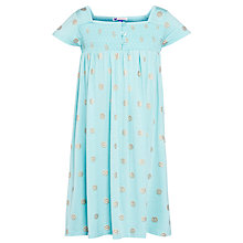Buy John Lewis Girl Pattern Smocked Jersey Dress, Aqua Online at johnlewis.com