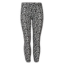 Buy John Lewis Girl Floral Leggings, Black/Cream Online at johnlewis.com