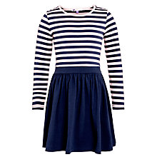 Buy John Lewis Girl Contrast Stripe & Plain Skater Dress, Navy/Pink Online at johnlewis.com
