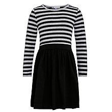 Buy John Lewis Girl Contrast Stripe & Plain Skater Dress, Black/Grey Online at johnlewis.com