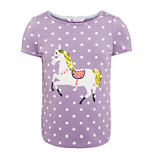 Buy John Lewis Girl Polka Dot Horse Motif T-Shirt, Purple Online at johnlewis.com