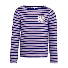 Buy John Lewis Girl Long Sleeve Sequin Pocket T-Shirt, Purple Online at johnlewis.com