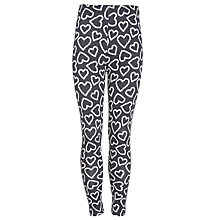 Buy John Lewis Girl Fashion Hearts Leggings, Black/Cream Online at johnlewis.com