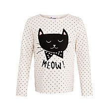 Buy John Lewis Girl Polka Dot Cat Print T-Shirt, Cream Online at johnlewis.com