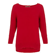 Buy Jigsaw Drop Hem Sweater, Scarlet Online at johnlewis.com