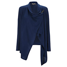 Buy Jigsaw Rice Stitch Tab Drape Cardigan, Navy Online at johnlewis.com