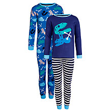 Buy John Lewis Boy Dino Pyjamas, Pack of 2, Blue Online at johnlewis.com