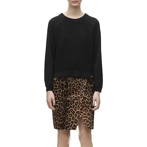 Buy Whistles Rib Front Boxy Jumper, Black Online at johnlewis.com