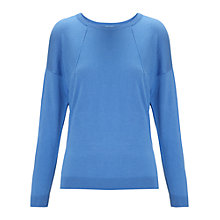 Buy Whistles Silk Mix Boxy Top, Blue Online at johnlewis.com