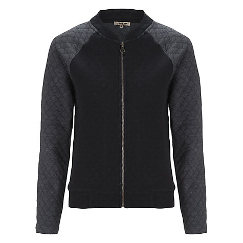 Buy Jigsaw Quilted Jersey Bomber Jacket, Dark Grey Online at johnlewis.com