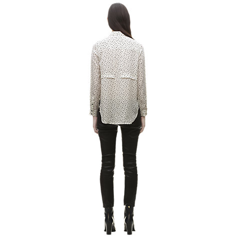 Buy Whistles Square Print Silk Shirt, Black/White Online at johnlewis.com