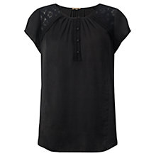 Buy Jigsaw Crocus Drape Lace Shoulder T-shirt, Black Online at johnlewis.com