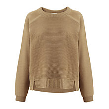 Buy Whistles Rib Front Boxy Jumper, Camel Online at johnlewis.com