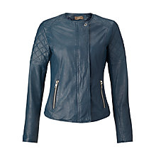 Buy Jigsaw Quilted Leather Jacket, Washed Navy Online at johnlewis.com