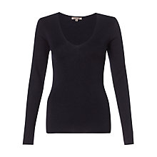 Buy Jigsaw Silk Cotton V Neck Jumper, Navy Online at johnlewis.com