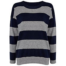Buy Jaeger Striped Oversized Knitted Top, Navy Online at johnlewis.com