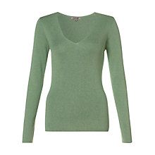 Buy Jigsaw Silk Cotton V Neck Jumper, Green Online at johnlewis.com