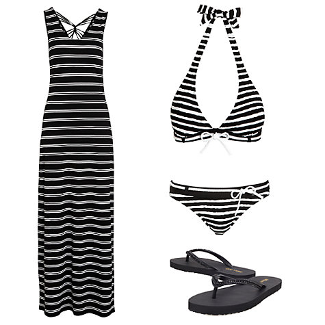 Buy John Lewis Stripe Rope Padded Triangle Bikini Top, Black / White Online at johnlewis.com