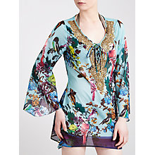 Buy Blue Mojito Long Embellished Bird Print Kaftan, Samsara Bird Print Online at johnlewis.com