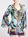 Blue Mojito Long Embellished Bird Print Kaftan, Samsara Bird Print