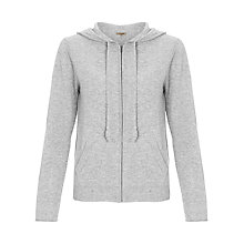 Buy Jigsaw Cashmere Hooded Zip Cardigan, Mel Grey Online at johnlewis.com