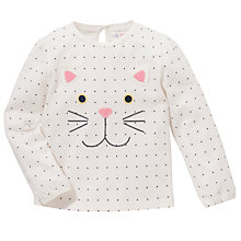 Buy John Lewis Polka Dot Cat Face T-Shirt, White Online at johnlewis.com
