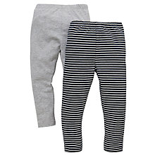 Buy John Lewis Plain & Stripe Leggings, Pack of 2, Grey Online at johnlewis.com