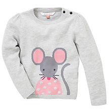 Buy John Lewis Intarsia Knit Mouse Jumper, Grey Online at johnlewis.com