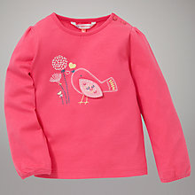 Buy John Lewis Bird Applique Long Sleeve Top, Pink Online at johnlewis.com