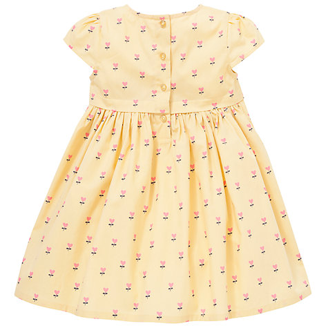 Buy John Lewis Heart Print Cotton Dress, Yellow Online at johnlewis.com