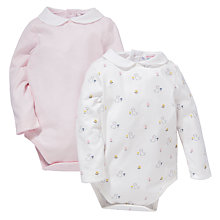 Buy John Lewis Jersey Bodysuits, Pack of 2, Cream/Pink Online at johnlewis.com