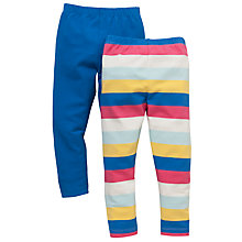 Buy John Lewis Plain & Stripe Leggings, Pack of 2, Blue/Multi Online at johnlewis.com