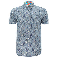 Buy Pretty Green Thorley Paisley Print Shirt, Blue Paisley Online at johnlewis.com