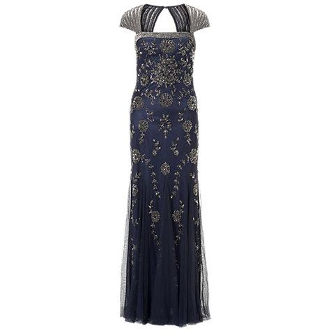 Buy Adrianna Papell Cap Sleeve Beaded Dress, Navy | John Lewis