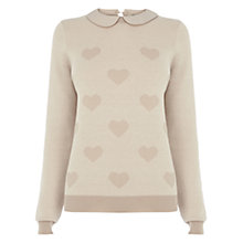Buy Oasis Heart Collar Jumper, Light Neutral Online at johnlewis.com