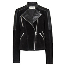 Buy Mango Combi Leather Biker Jacket, Black Online at johnlewis.com