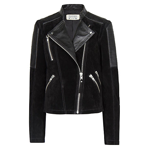 Buy Mango Combi Leather Biker Jacket Online at johnlewis.com