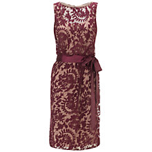 Buy Adrianna Papell Lace Blouson Sash Dress, Burgudy Online at johnlewis.com