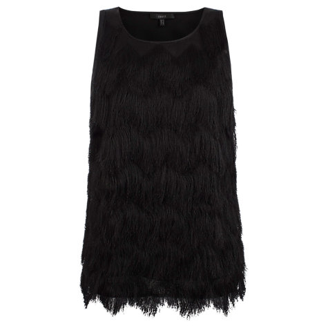 Buy Coast Alfre Fringe Top, Black Online at johnlewis.com