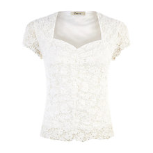 Buy Precis Petite Sweetheart Lace Textured Top, Ivory Online at johnlewis.com