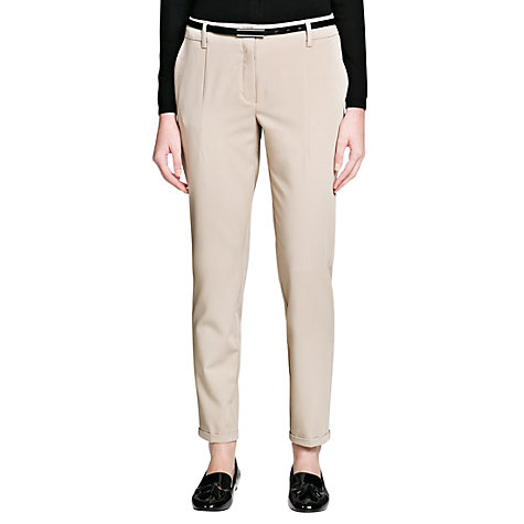 Buy Mango Belted Trousers, Light Beige Online at johnlewis.com